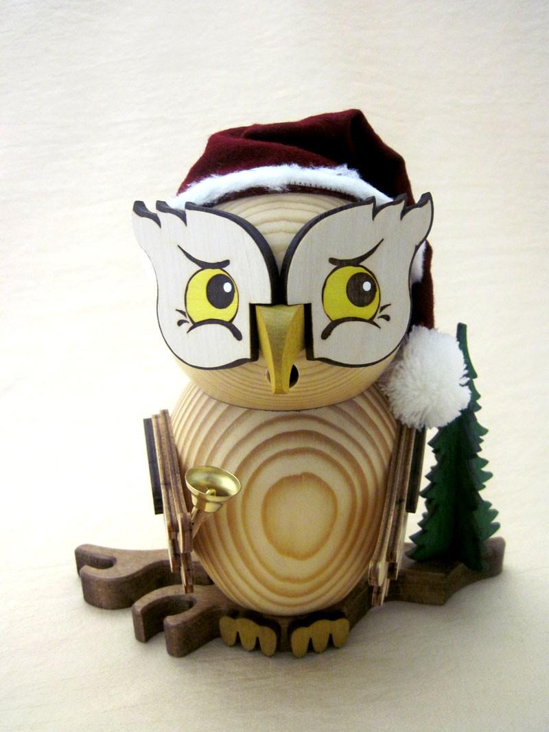Räucherfigur Eule als Weihnachtsmann