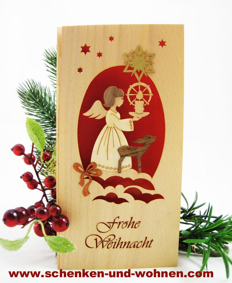Weihnachtskarte Furnierholz Exclusiv Engel mit Reh