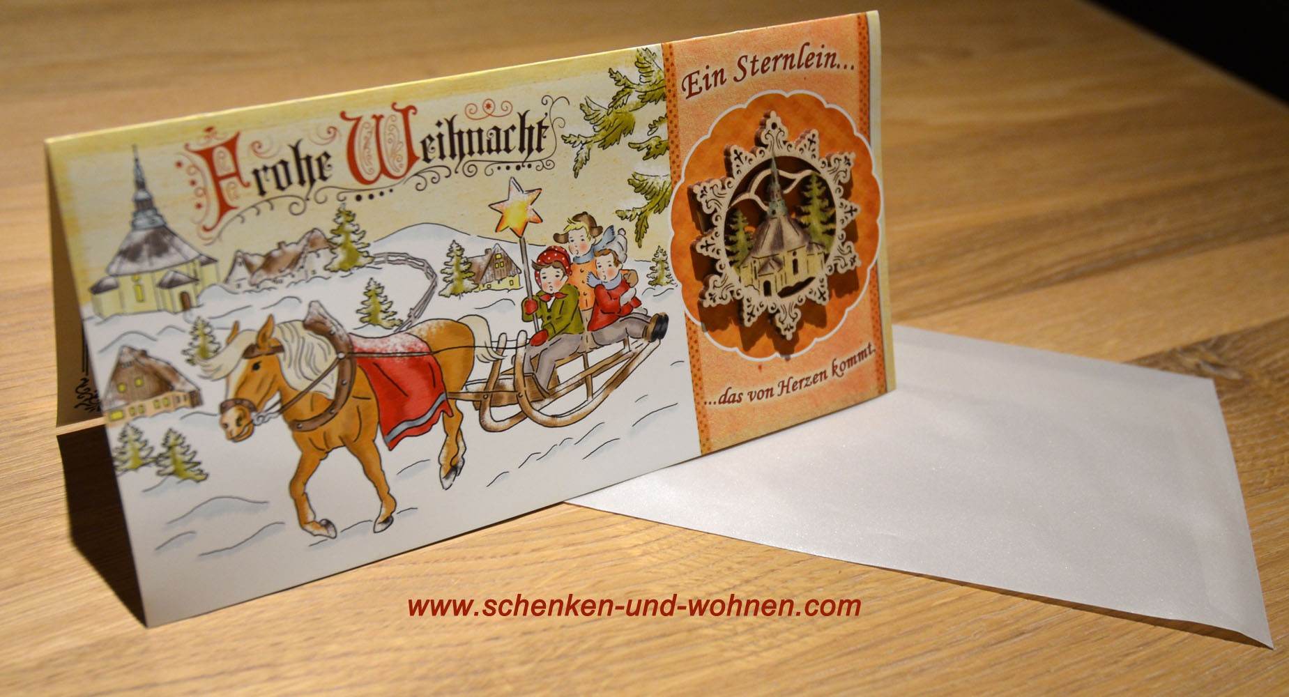 Exclusive Weihnachtskarte mit Holzbehang 210x105