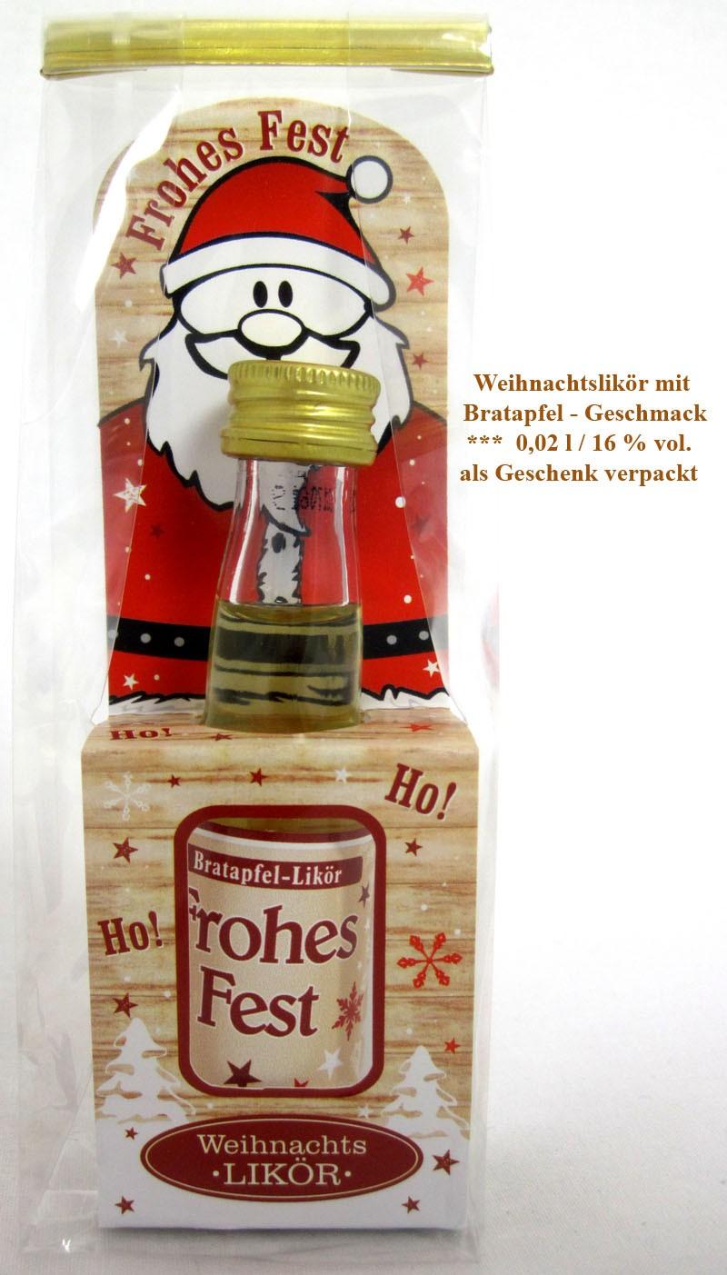 Weihnachten-kleines Likörpräsent Bratapfel in Geschenkfolie 0,02 l - 16% vol.