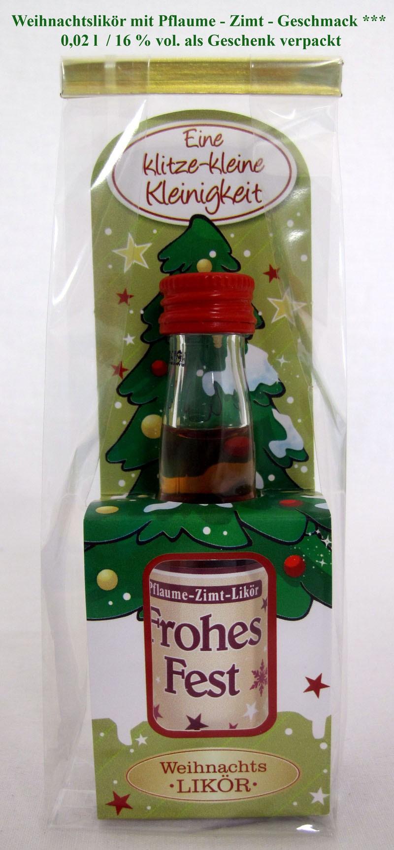 Weihnachten-kleines Likörpräsent Pflaume-Zimt in Geschenkfolie 0,02 l - 16% vol.