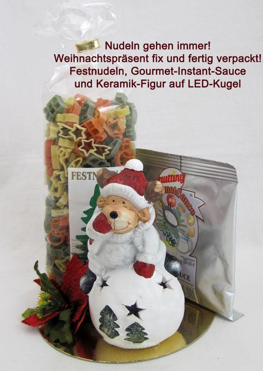 Nudelpräsent mit Gourmet-Instand-Sauce und LED-Keramik-Figur