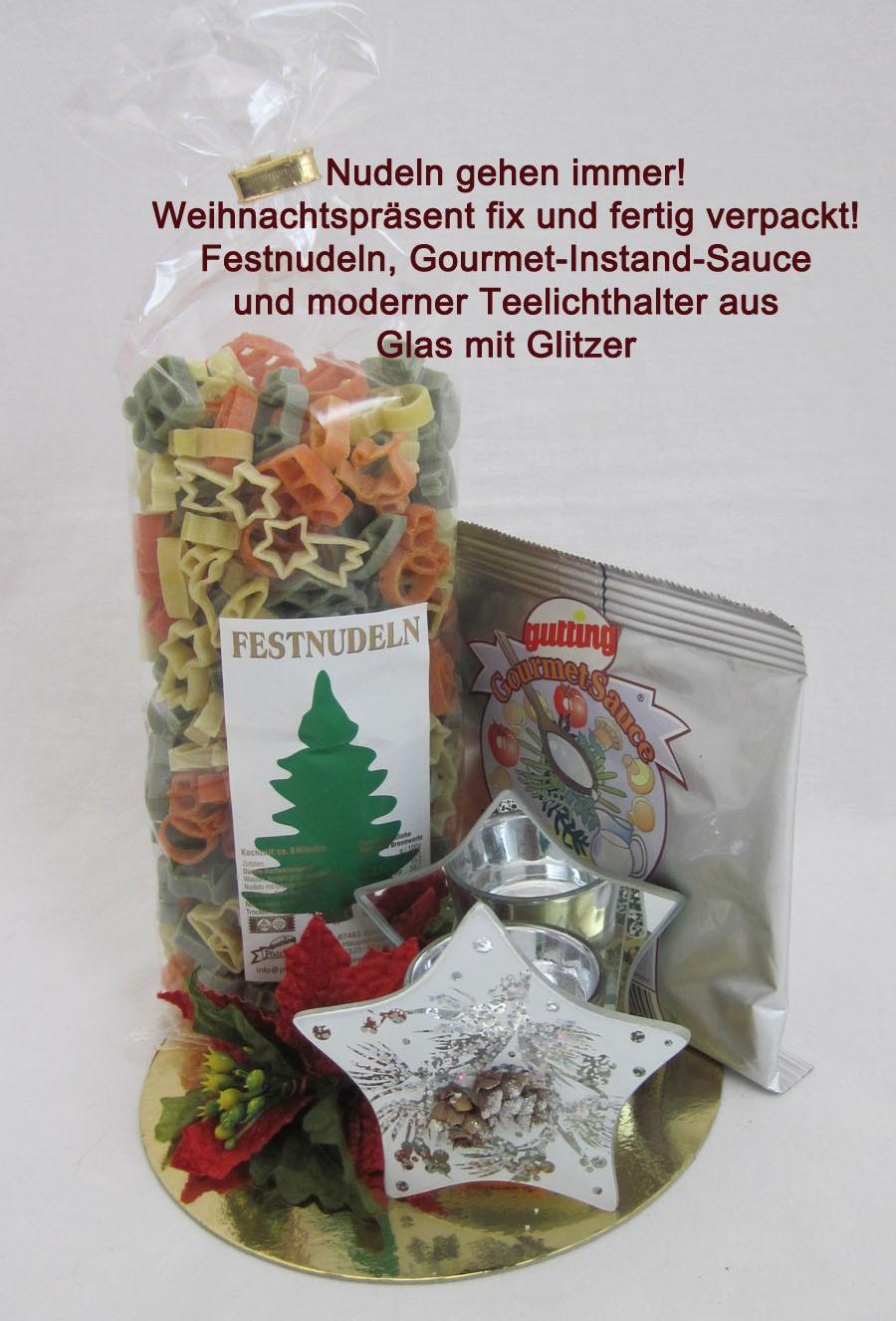 Nudelpräsent mit Gourmet-Instand-Sauce und Teelicht-Stern mit Glitzer