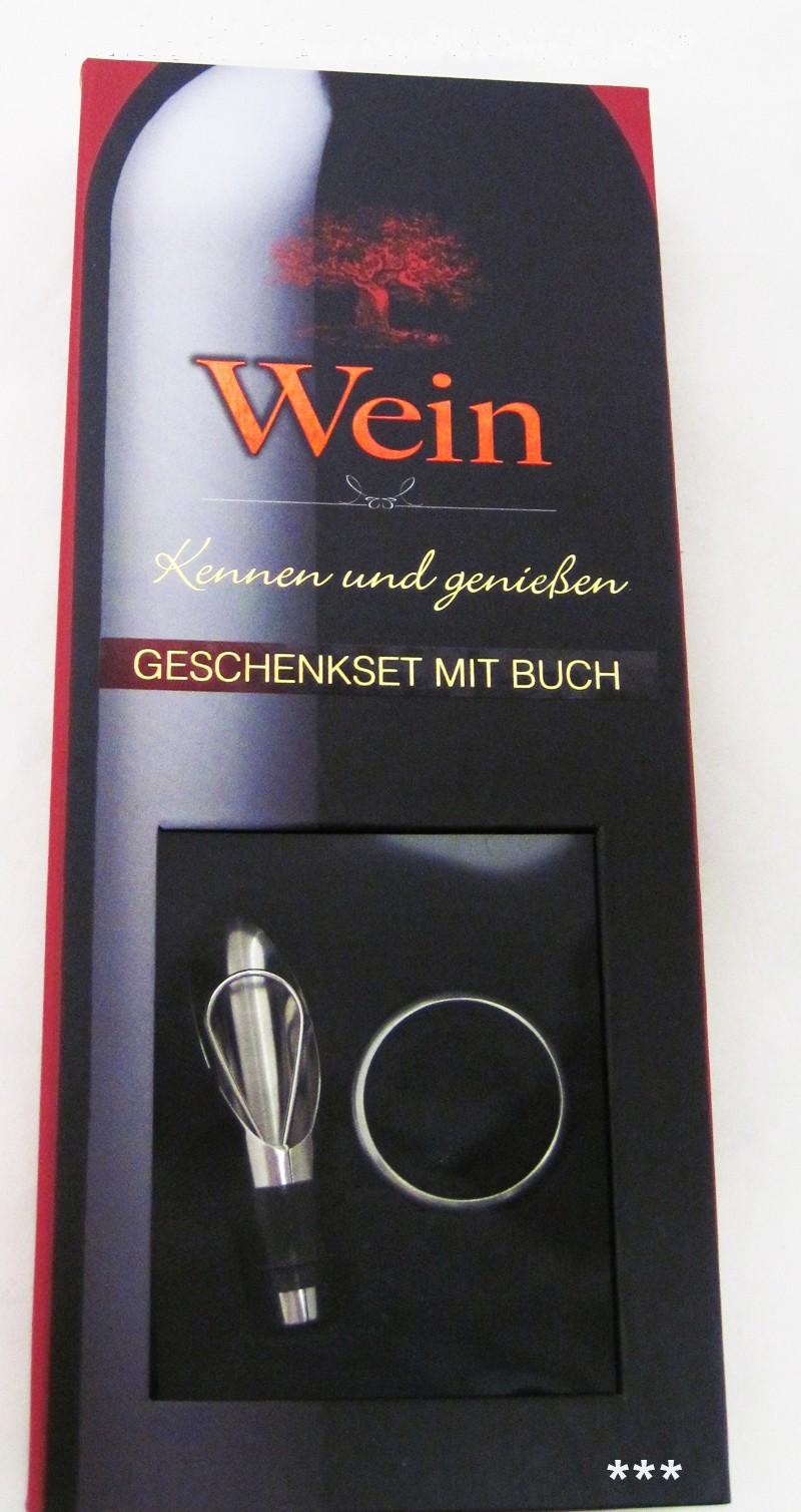 Geschenkset  Wein mit Buch in edler Geschenk-Box ca. 12,0 x 28,0 x 3,5 cm