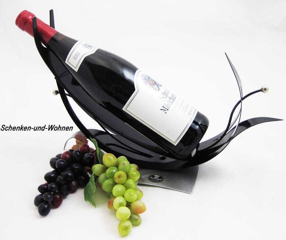 """Metall-Flaschenhalter """"Grapes"""" Schwarz ca. 12 x 37 x 25 cm (T/B/H)"""