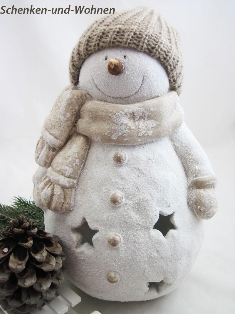 Windlicht Winterfigur Schneemann weiß ca. 40 cm