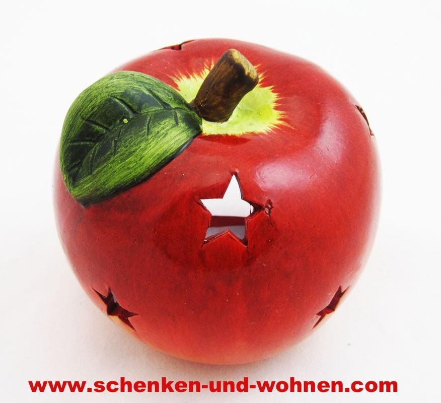 Windlicht Weihnachtsapfel mit Sternendurchbruch rot 11 x 11,2 x 11,2 cm