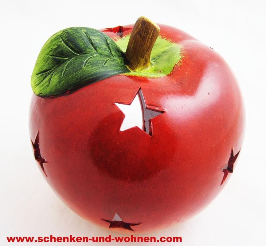 Windlicht Weihnachtsapfel mit Sternendurchbruch rot 14,2  x 14,4 x 14,4 cm