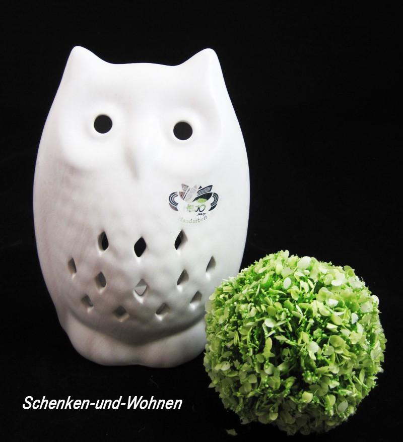 Keramik -Windlicht Eule Weiß, ca. 17 cm hoch