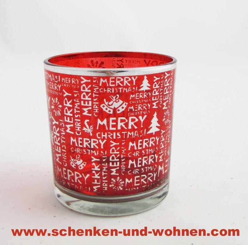 Windlicht mit weihnachtlicher Aufschrift rot 8 cm