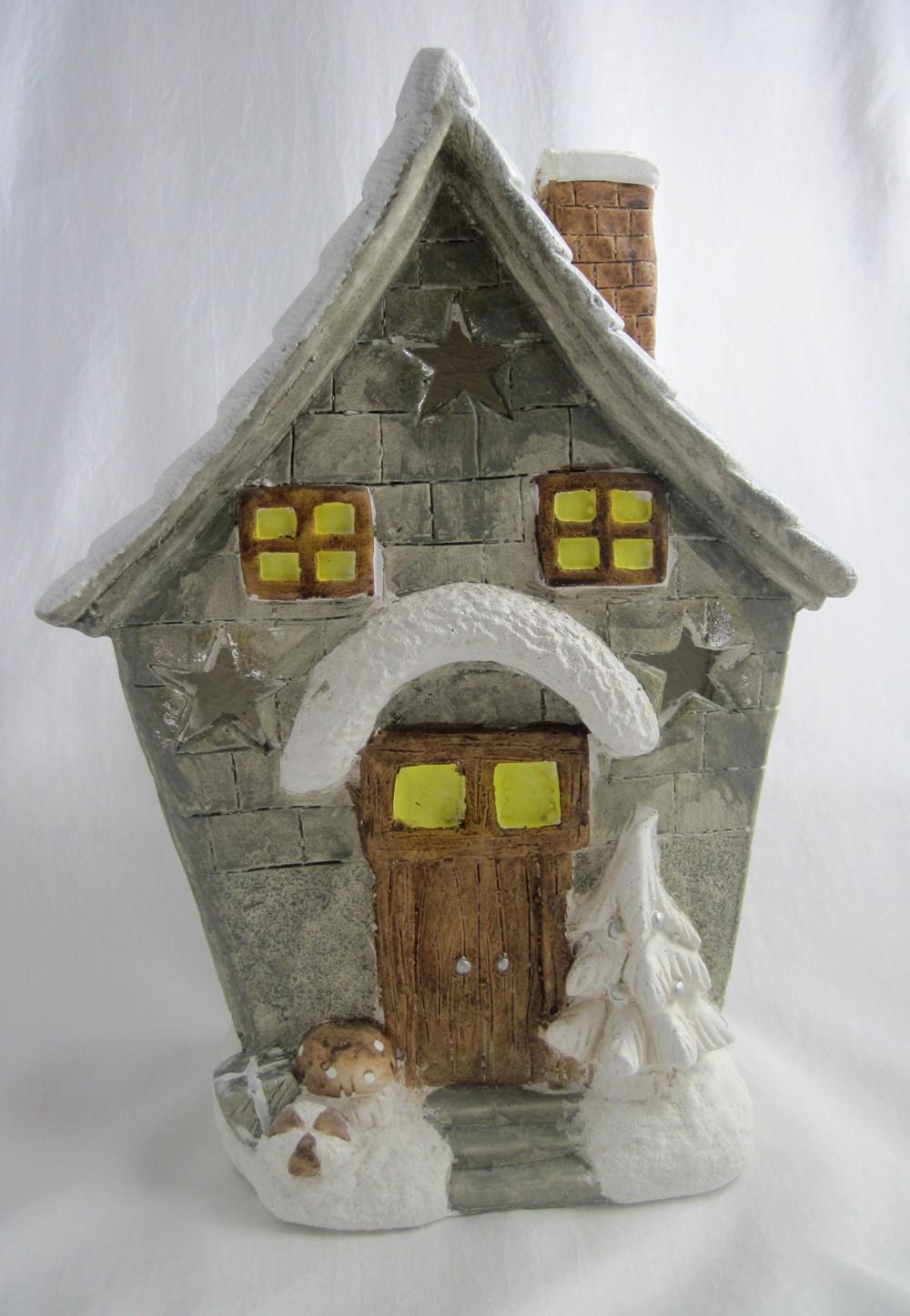 Weihnachtshaus Winterhaus Windlicht 40 cm für innen und aussen