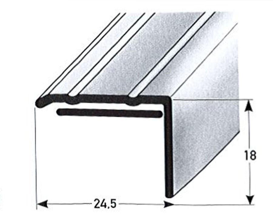 Winkelprofill Bodenprofil silber selbstklebend 24,5x18mmx100 cm