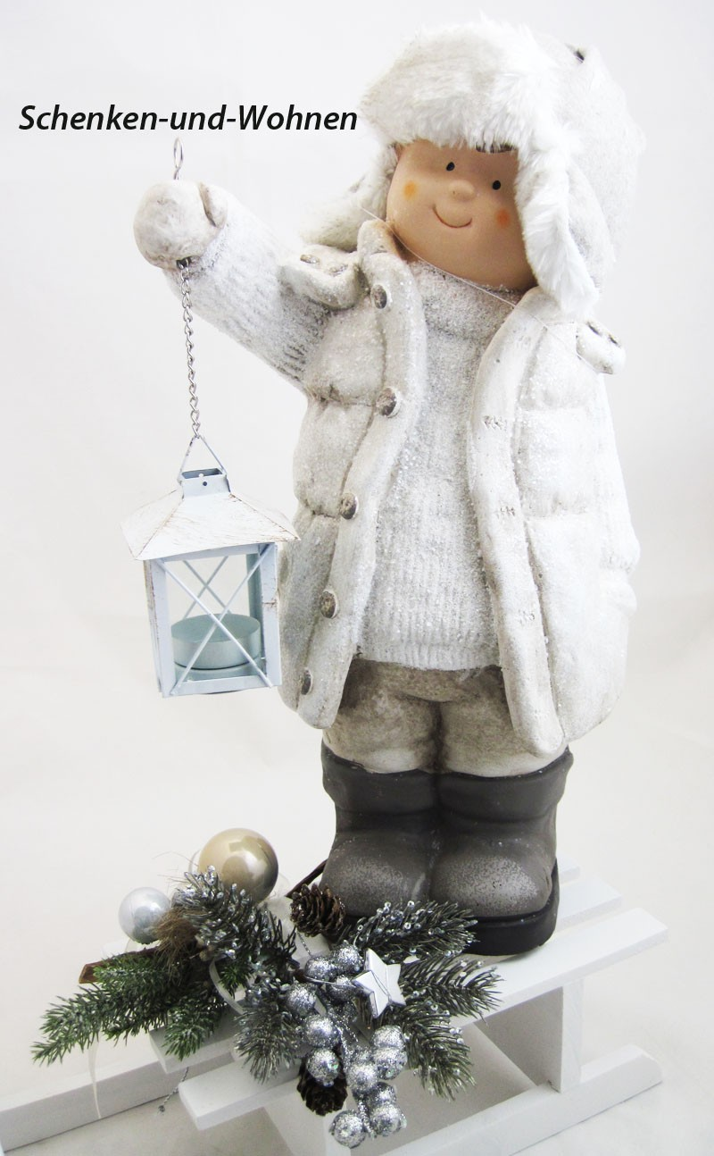 Winterkind Luis mit Laterne, creme ca. 20 x 22 x 42 cm (T/B/H)
