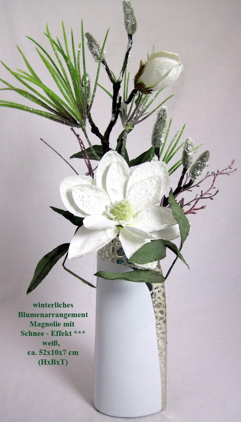 Weihnachten-winterl.Arrangement Magnolie Schneeeffekt hohe Vase ca.52 cm
