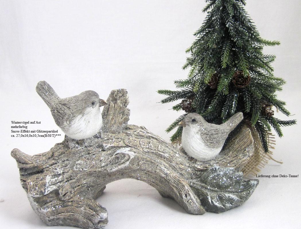 Wintervögel auf Ast natur mit Glitzereffekt ca. 27,0 x 16,0 x 10,5 cm B/H/T