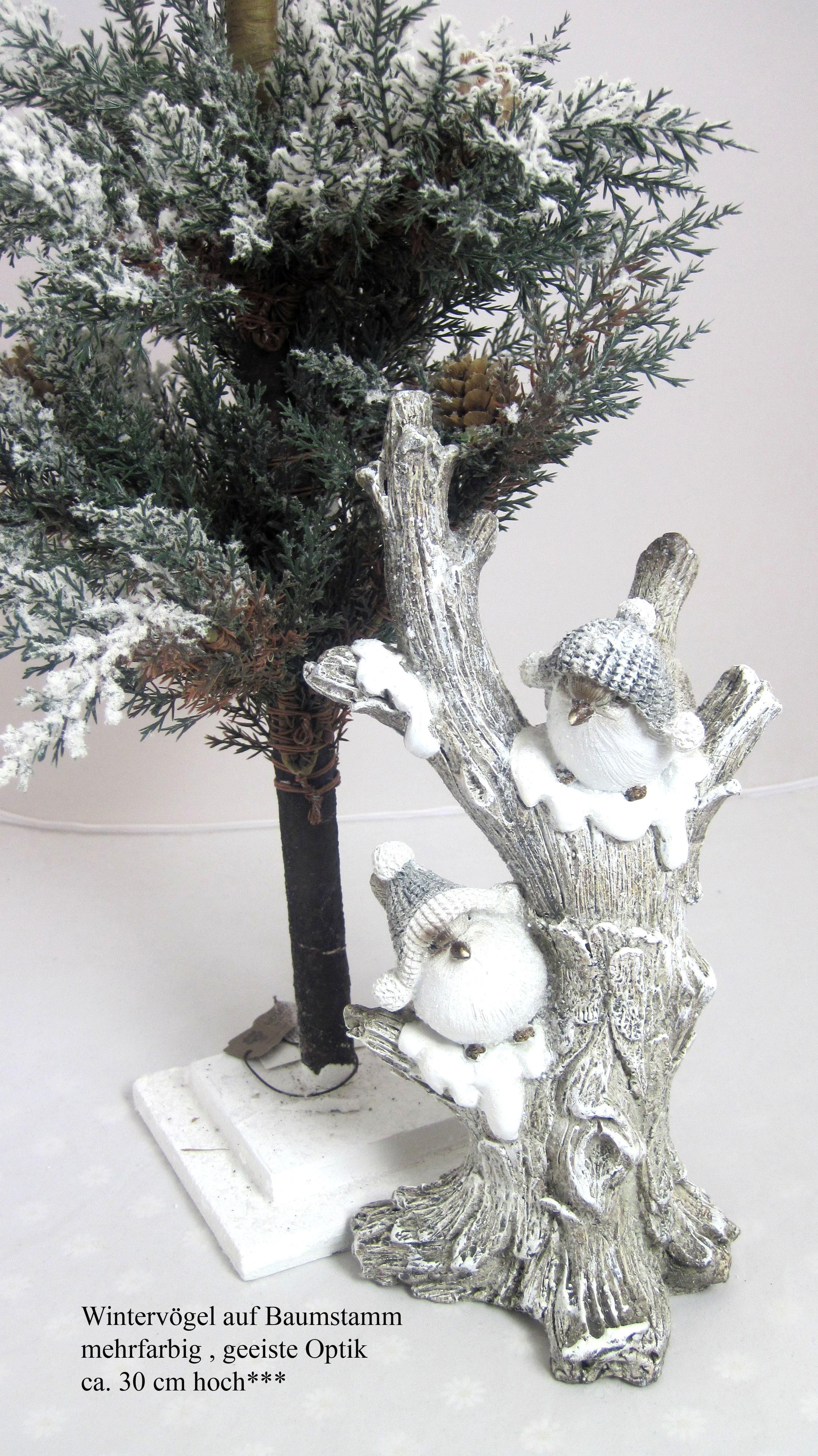 Wintervögel auf Baumstamm ca. 30 cm hoch