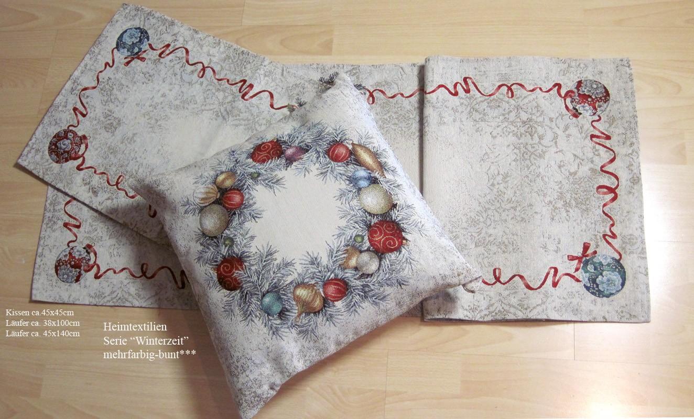 """Gobelin Weihnachtsläufer """"Winterzeit"""" mehrfarbig-bunt, ca. 38 x 100 cm"""