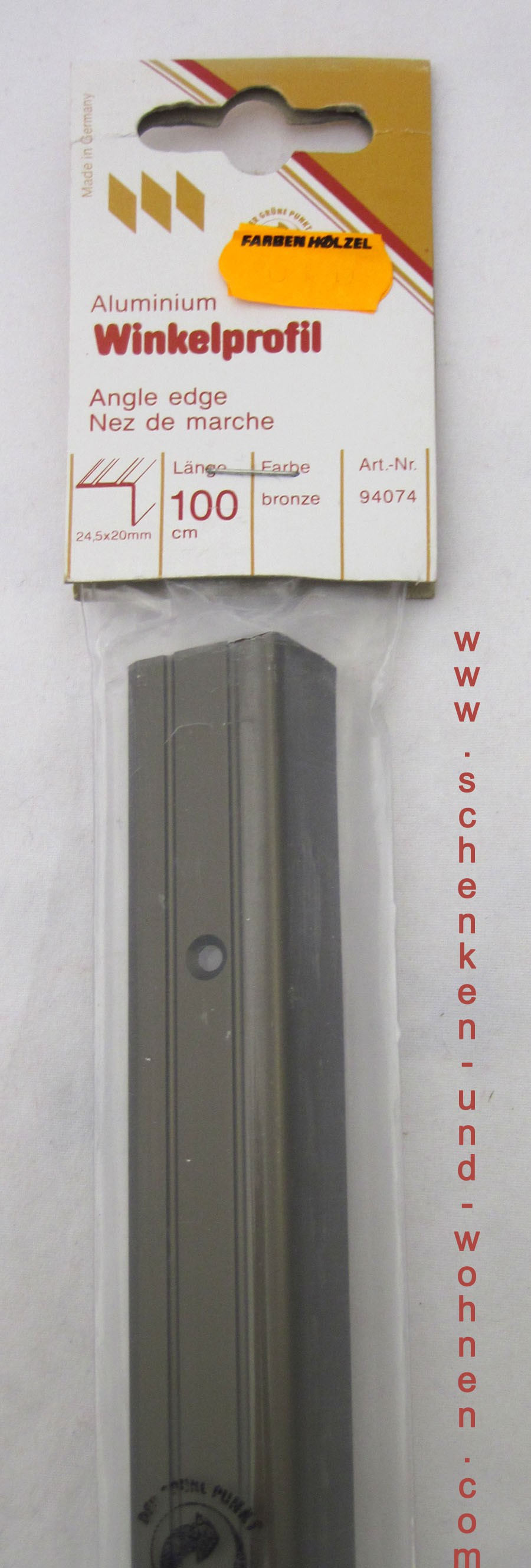 Winkelprofill Bodenprofil bronze dunkel 24,5x20mmx100 cm