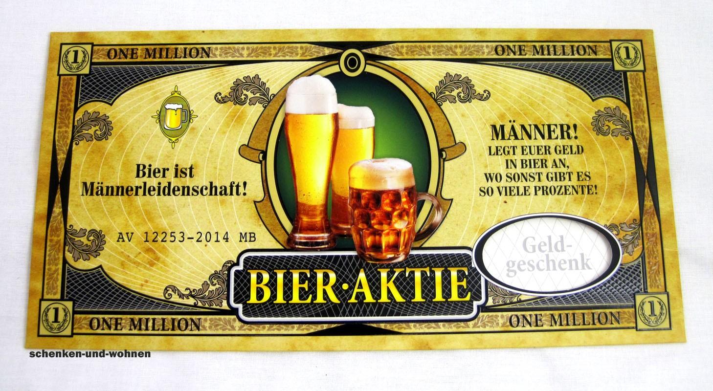 Xxl Geldgeschenk Umschlag Bier Aktie Schenken Und Wohnencom