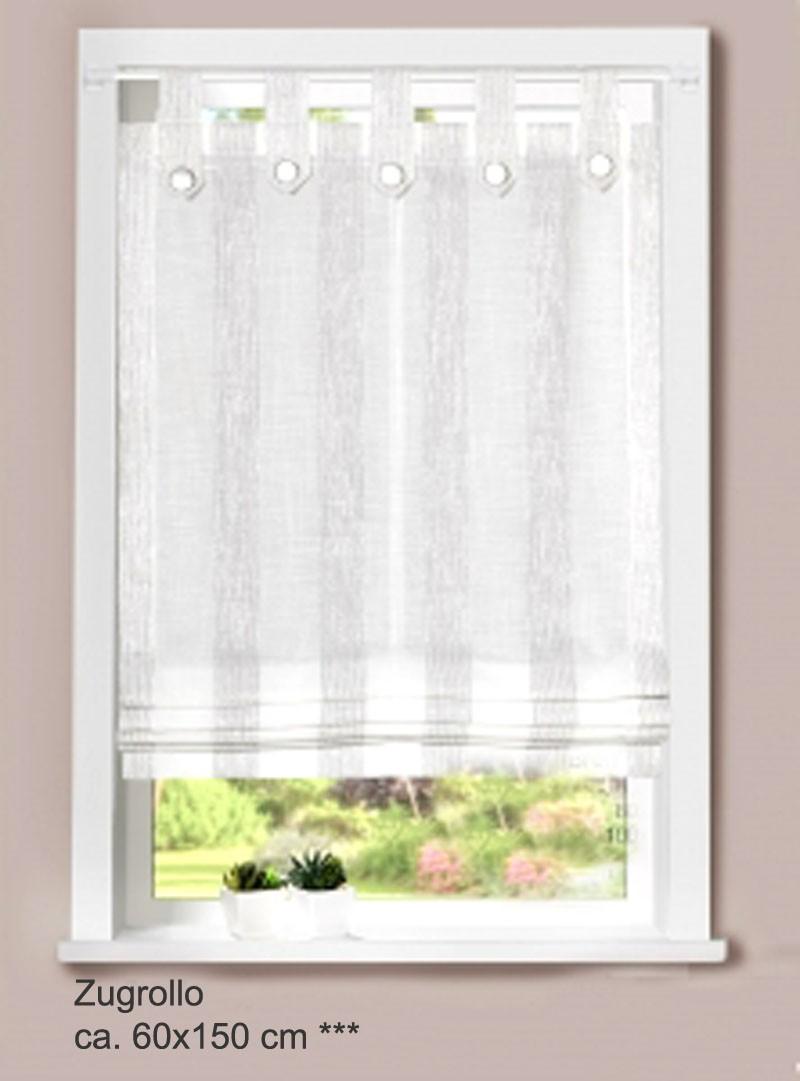Zugrollo - Raffrollo weiß/silber ca. 60x150 cm