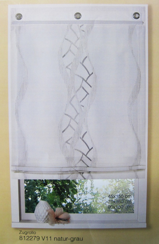 Zugrollo - Raffrollo Natur-Grau  45 x 150 cm