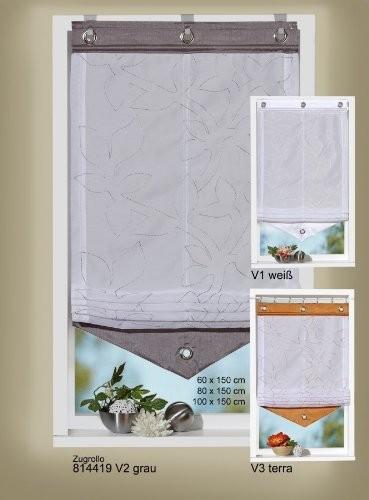 Raffrollo-Zugrollo mit grauer Stickerei und Blende 60 x 150 cm ( B x H )