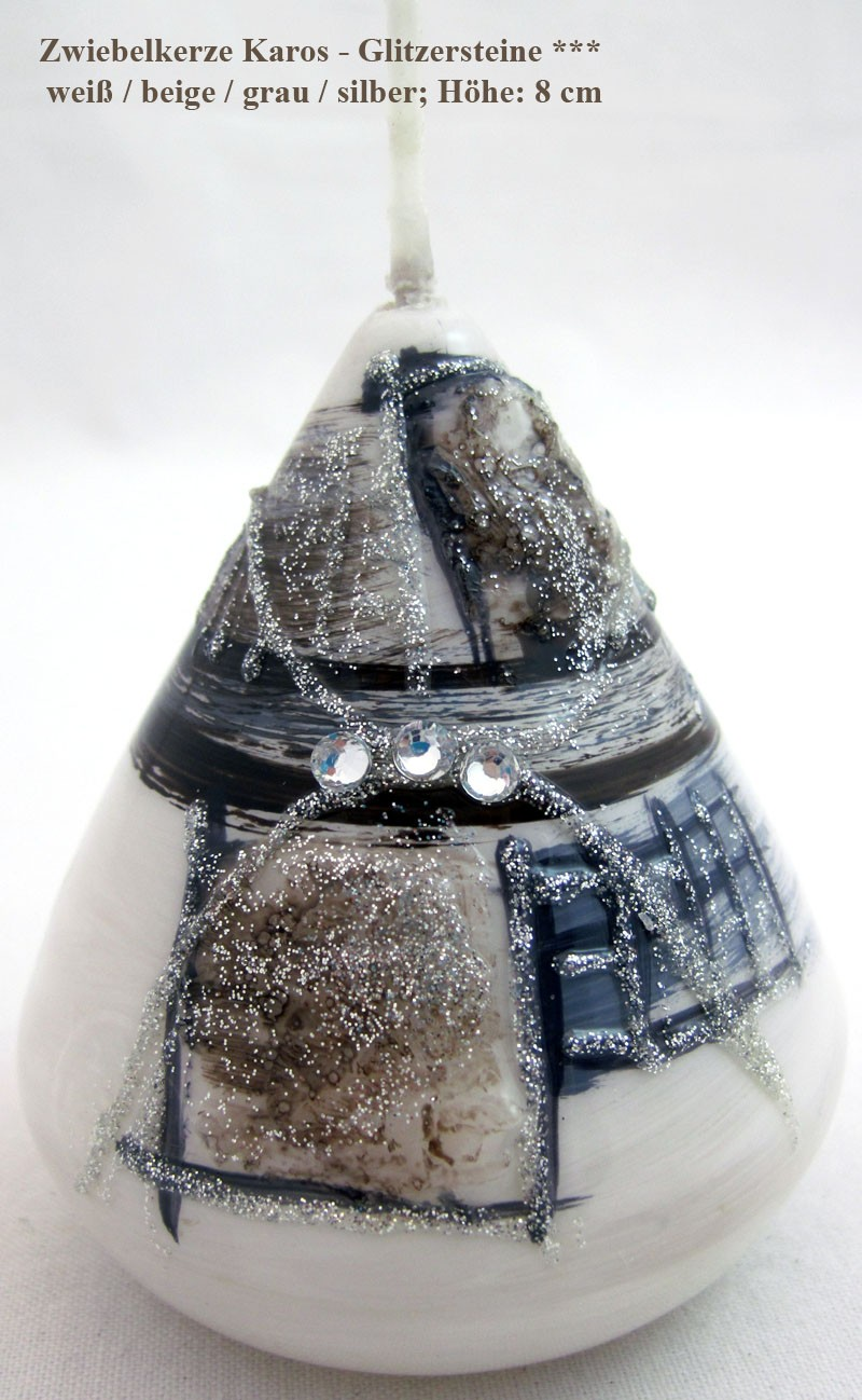 """Zwiebelkerze """"Karos-Glitzersteine"""" weiß/beige/grau/silber; ca.8cm"""