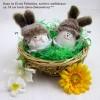 1 Hase im Ei mit Fellmütze, sortiert, weiß/braun ca. 10 cm