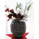 Keramik - Vase in Steinoptik handgefertigt anthrazit, ca. 23 cm