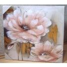Wandbild Wanddeko Blumen rosa quadratisch ca. 60 x 60 cm V1