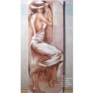 "Wandbild Gemälde ""Lady with hat"" 40 x 2,5 x 120 cm (B/T/H)  V2"