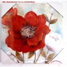 "Wandbild Gemälde ""Mohnblumen"" V1 Rot/Creme/Türkis ca. 2,5 x 30 x 30 x cm"