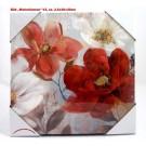 "Wandbild Gemälde ""Mohnblumen"" V3 Rot/Creme/Türkis ca. 2,5 x 30 x 30 x cm"