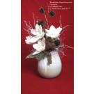 Winterliches Magnoliengesteck Frostoptik in Keramik-Vase ca. 40x63x30cm (B/H/T)