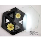 Deko-Glasteller sechseckig ca. 22x26 cm