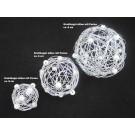1 Drahtball, Drahtkugel Silber-Weiß, ca. 4 cm Durchmesser