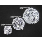 1 Drahtball, Drahtkugel Silber-Weiß, ca. 8 cm Durchmesser