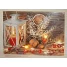 Weihnachtliches LED-Bild mehrfarbig, ca. 40 x 30 cm