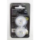 2er Set Kunststoff LED-Licht mit 3 Dioden, wasserfest warmweiß Ø ca. 3 cm