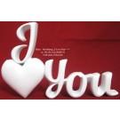 """Deko-Schriftzug """"I love you"""" mit Herz weiß matt 20x13x3 cm (BxHxT) Polyresin"""