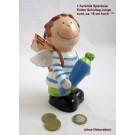 1 Keramik Spardose Erster Schultag Junge, bunt, ca. 16 cm