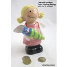 1 Keramik Spardose Erster Schultag Mädchen, bunt, ca. 16 cm