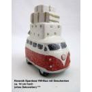 Keramik Spardose Winterzeit VW-Bus mit Geschenken, ca. 14 cm