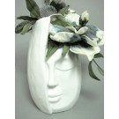 Kunst-Blumenarrangement Magnolie in Keramik-Gefäß ca. 34x14x15cm (H/B/T)