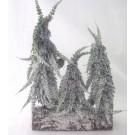 Tannenbäumchen 3 Stück auf Holzstamm verschneit 26x16 cm
