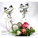 Windlicht Katzenfigur Metall und Keramik rechts, grau/weiß/rose ca.29 cm