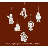 Plauener Spitze - Baumbehang 6er-Set Weihnachtsmotive