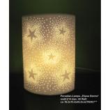 Porzellan-Lampe Sternendesign weiss ca.18,0 x 10,5 x 26,0 cm (T/B/H)