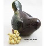 Keramik - Vogel braun/grün glasiert ca. 10 x 10,5 x 13 cm (B/H/T)