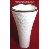 "Keramik Kelchvase ""Valencia"" weiß/silber glänzend, Blumenprint ca. 25x12 cm (HxØ)"